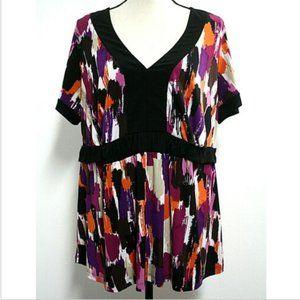 AB Studio Womens Size 2X Blouse Purple Black